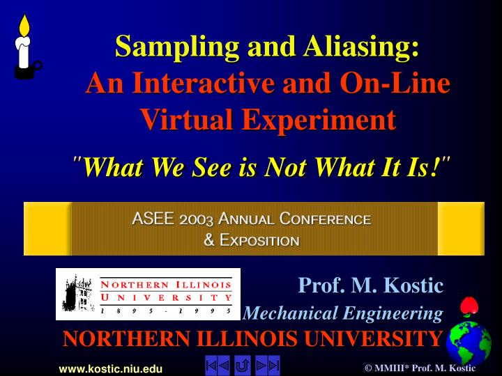 sampling and aliasing an interactive and on line virtual experiment n.