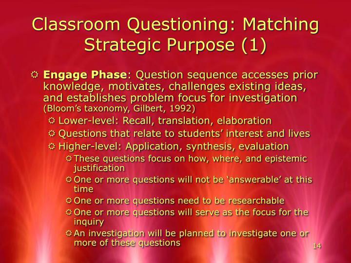 Classroom Questioning: Matching Strategic Purpose (1)