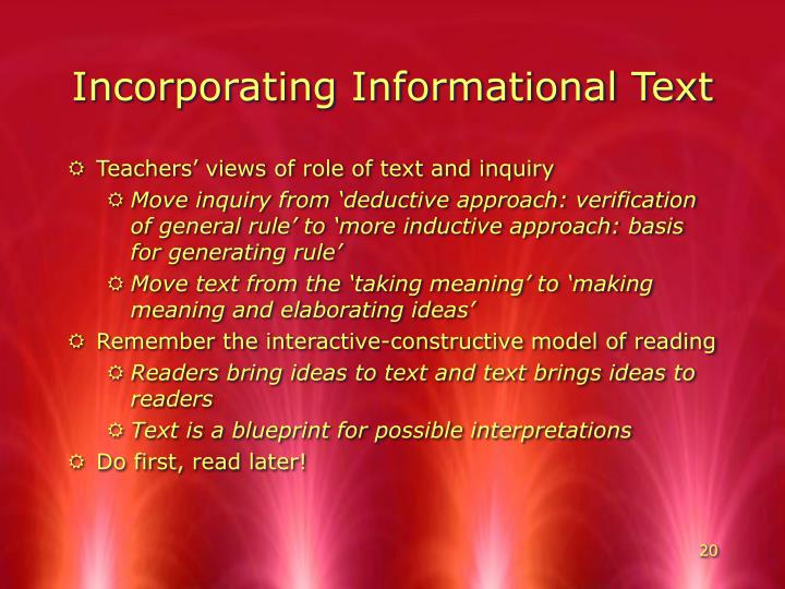 Incorporating Informational Text