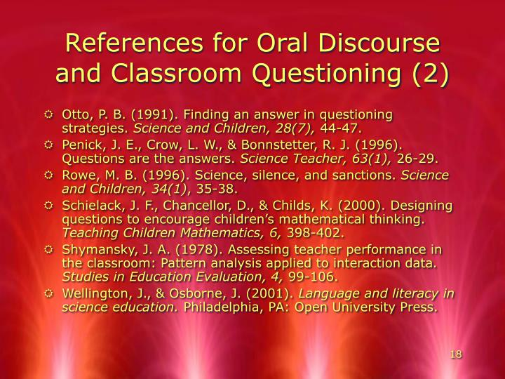 References for Oral Discourse and Classroom Questioning (2)