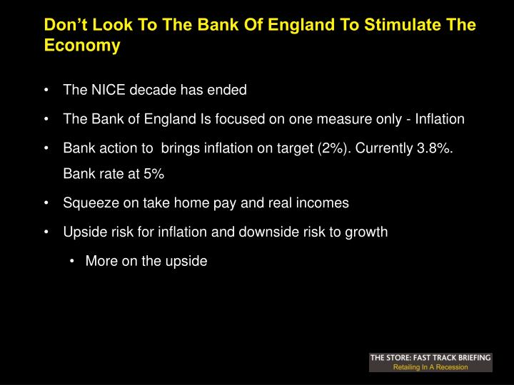 Don't Look To The Bank Of England To Stimulate The Economy