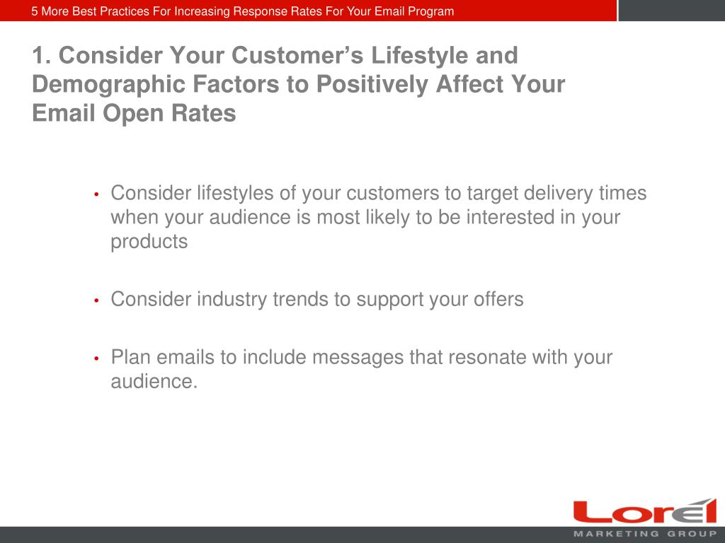 1. Consider Your Customer's Lifestyle and Demographic Factors to Positively Affect Your Email Open Rates