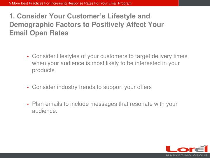 1. Consider Your Customer's Lifestyle and Demographic Factors to Positively Affect Your Email Open...