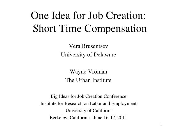 one idea for job creation short time compensation n.