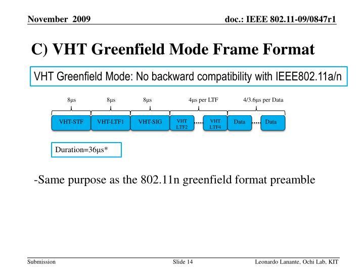 C) VHT Greenfield Mode Frame Format