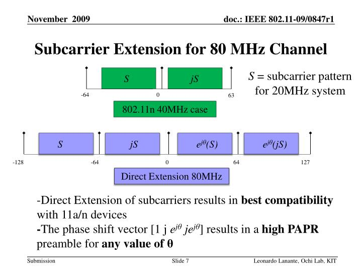 Subcarrier Extension for 80 MHz Channel