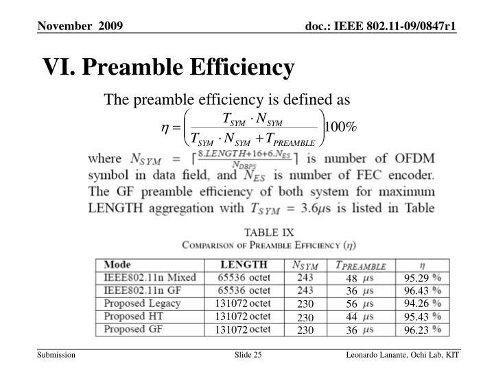 VI. Preamble Efficiency