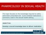 pharmacolgy in sexual health