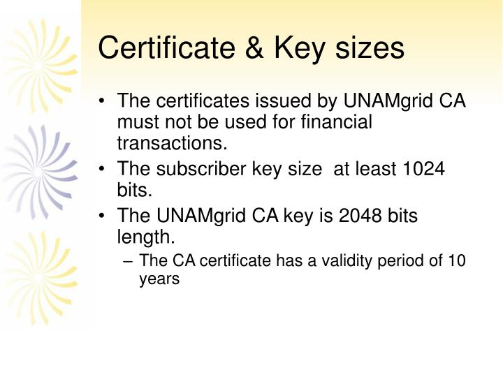 Certificate & Key sizes