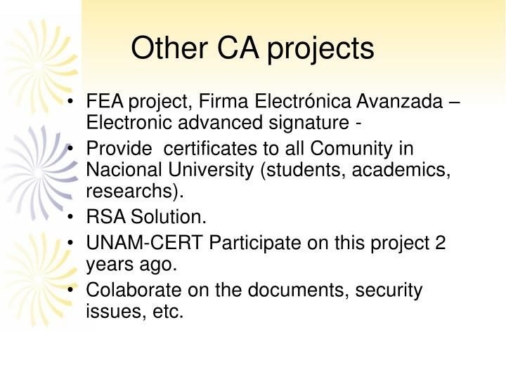 Other CA projects
