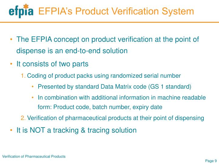 EFPIA's Product Verification System