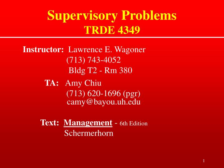 supervisory problems trde 4349 n.