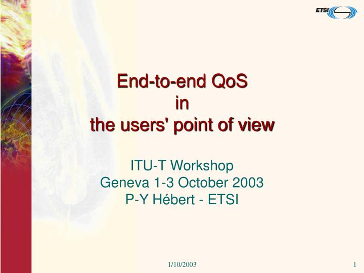 end to end qos in the users point of view n.