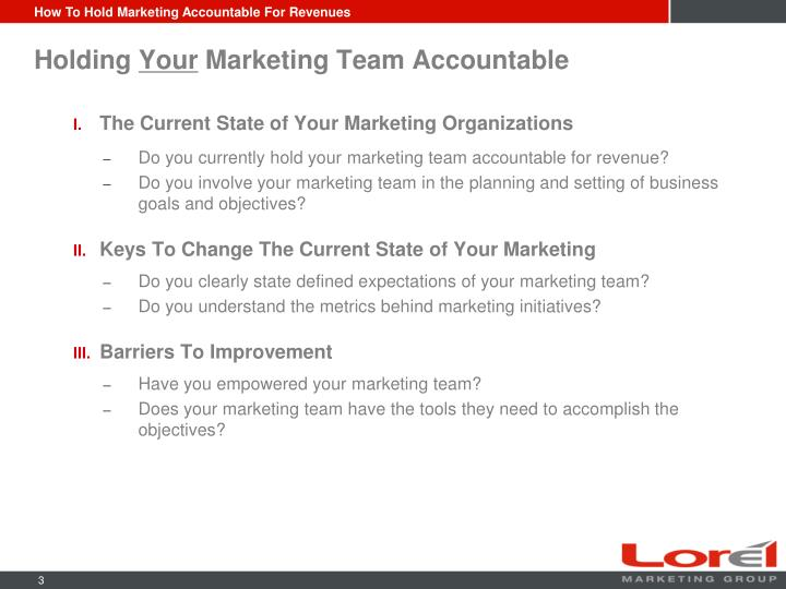 Holding your marketing team accountable