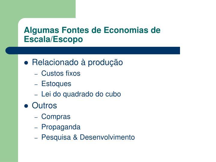 Algumas Fontes de Economias de Escala/Escopo