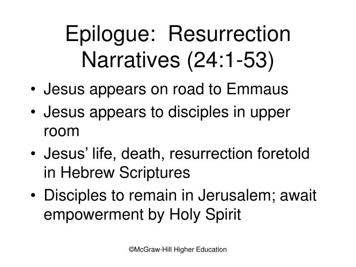 Epilogue:  Resurrection Narratives (24:1-53)