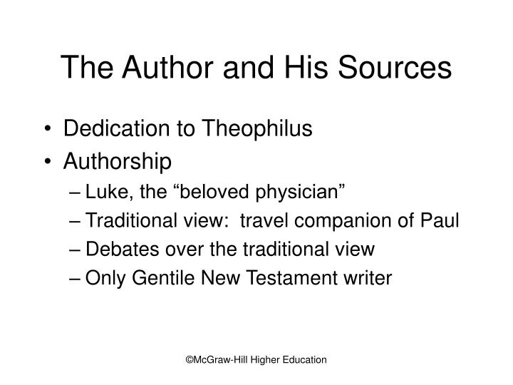 The Author and His Sources