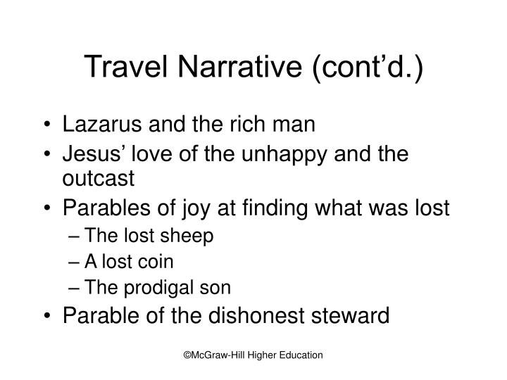 Travel Narrative (cont'd.)