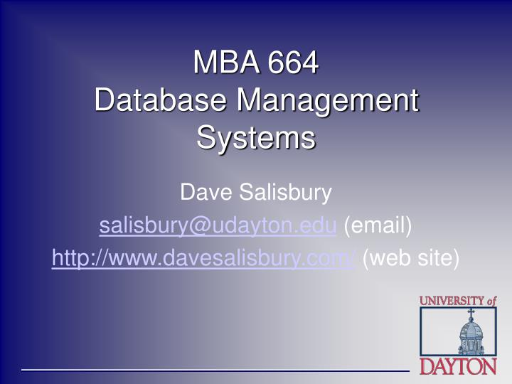 mba 664 database management systems n.