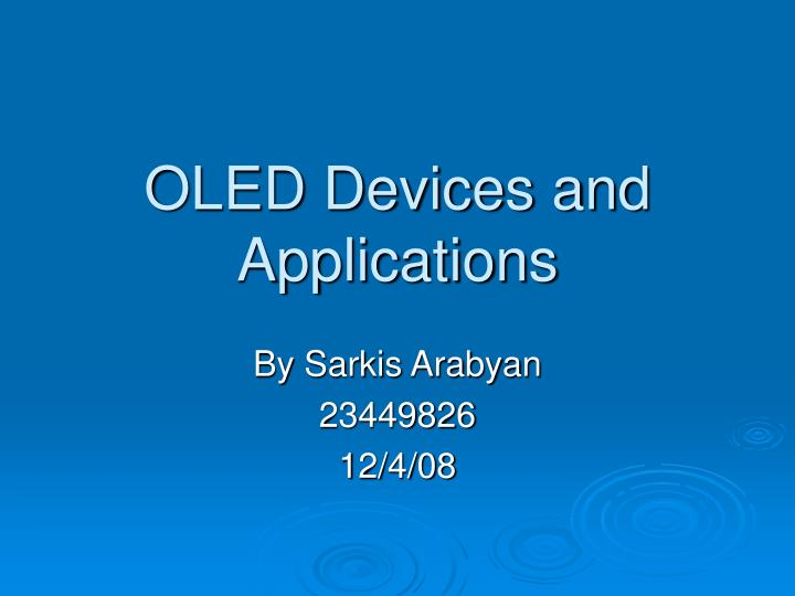 oled devices and applications n.