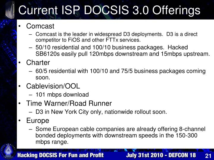 Current ISP DOCSIS 3.0 Offerings