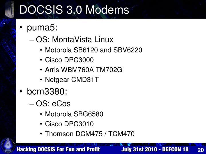 DOCSIS 3.0 Modems