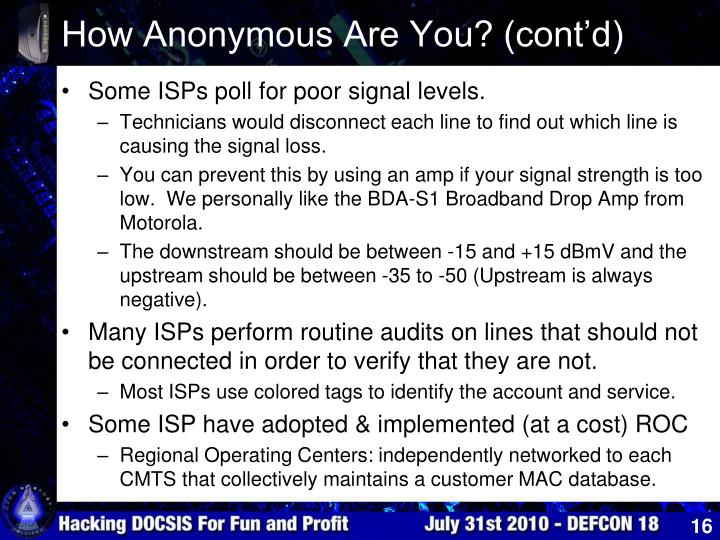 How Anonymous Are You? (cont'd)
