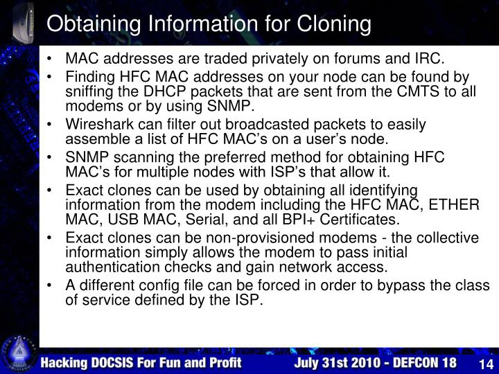 Obtaining Information for Cloning
