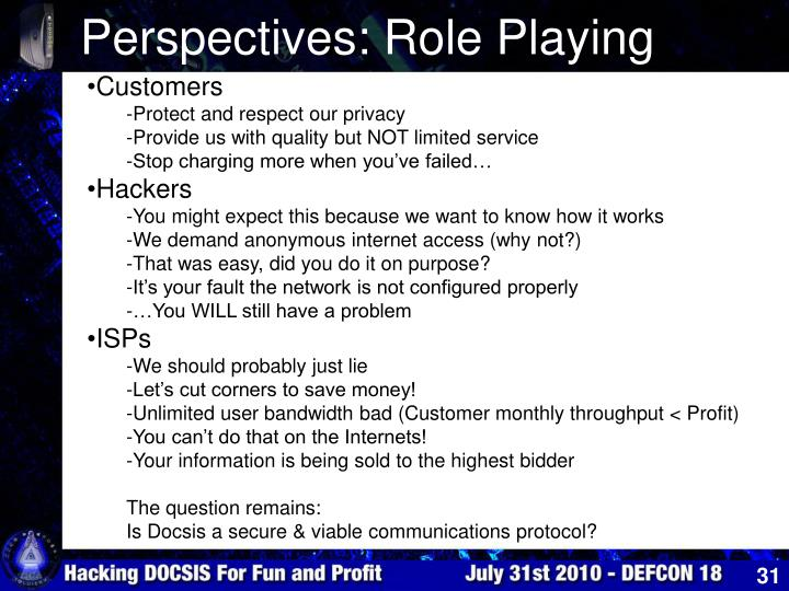 Perspectives: Role Playing