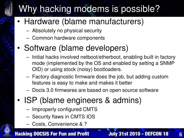 Why hacking modems is possible?