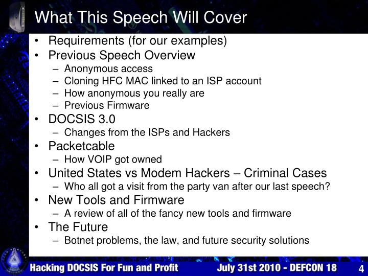 What This Speech Will Cover