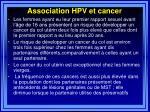 association hpv et cancer