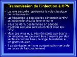 transmission de l infection hpv