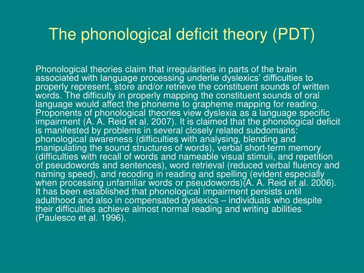 dyslexia theory of a phonological deficit A quick video on the most widely accepted neurological theory of dyslexia: the phonological deficit theory disclaimer: dyslexia is complex and this does not explain all the difficulties students.