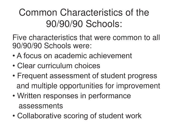 Common Characteristics of the 90/90/90 Schools:
