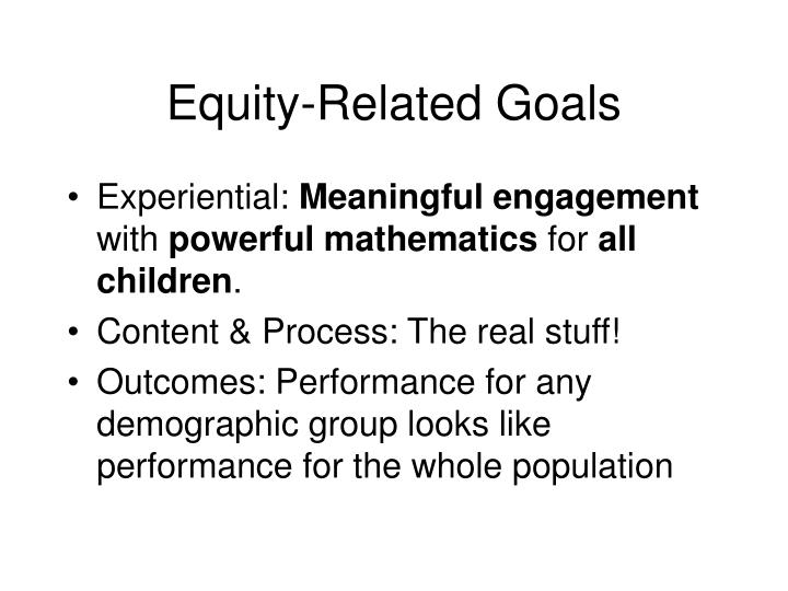 Equity related goals