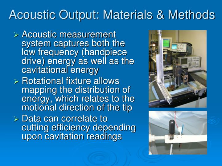 Acoustic Output: Materials & Methods