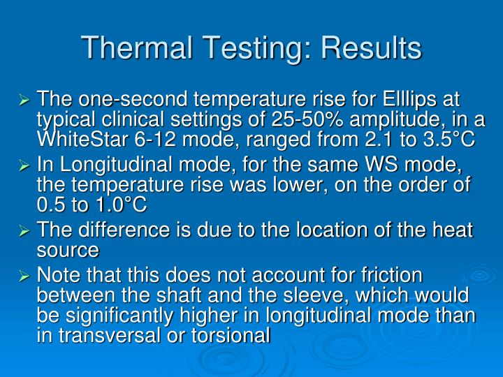 Thermal Testing: Results