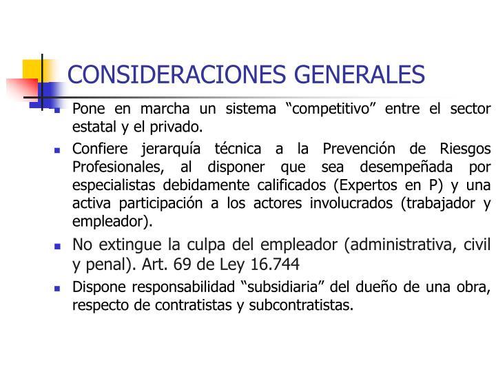 Consideraciones generales1