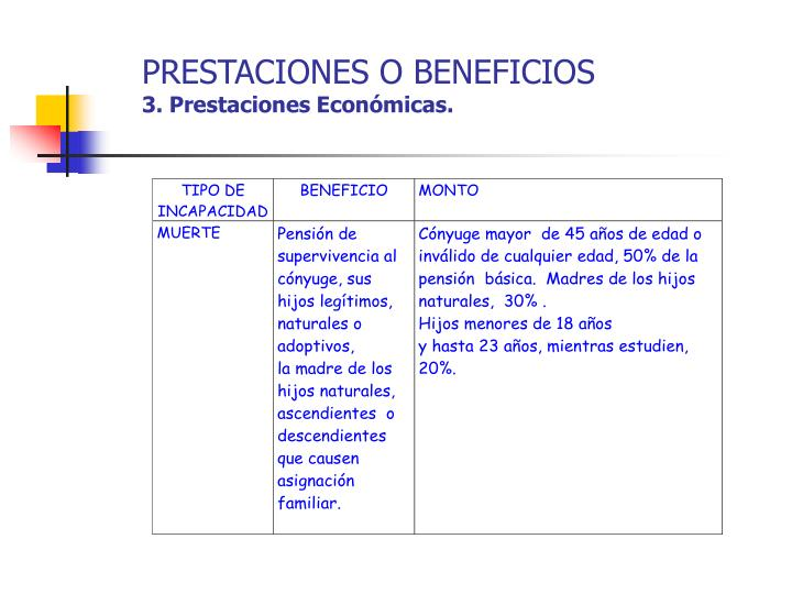 PRESTACIONES O BENEFICIOS