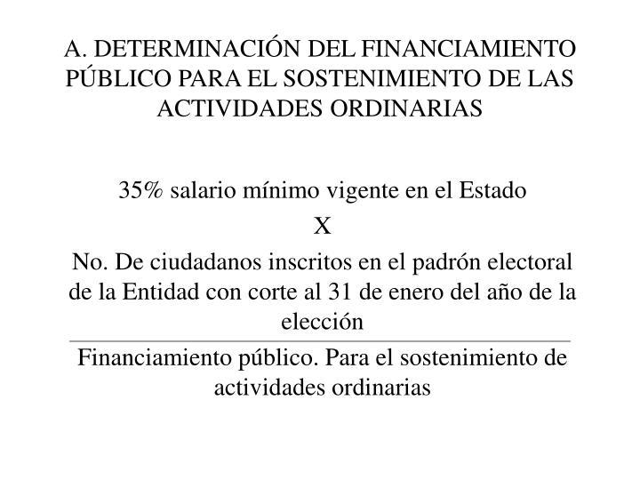 A. DETERMINACIÓN DEL FINANCIAMIENTO PÚBLICO PARA EL SOSTENIMIENTO DE LAS ACTIVIDADES ORDINARIAS