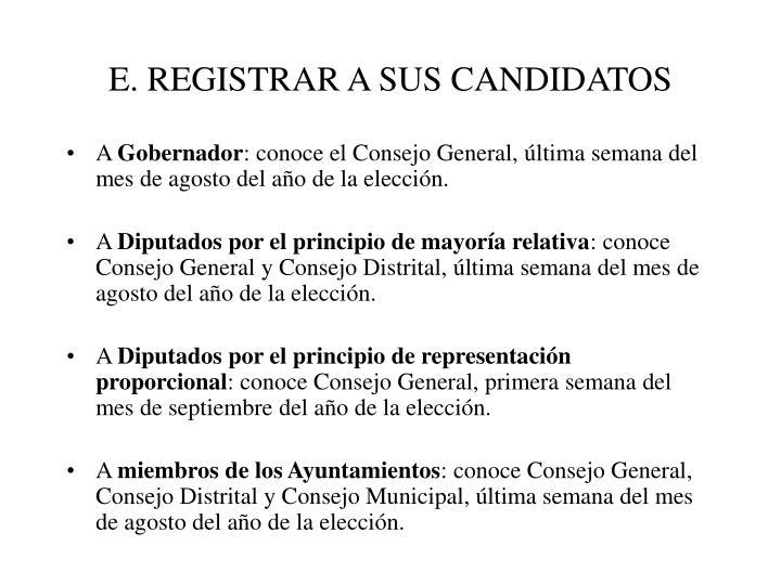 E. REGISTRAR A SUS CANDIDATOS