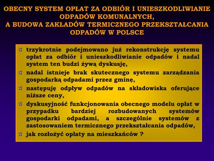 OBECNY SYSTEM OPŁAT