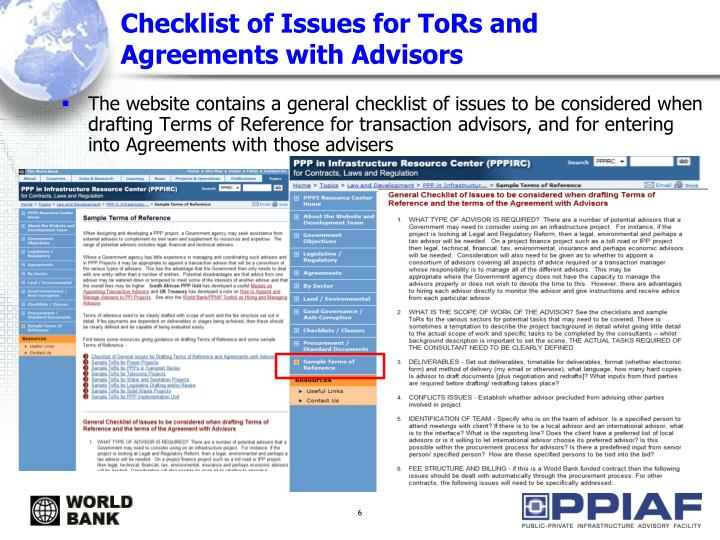 Checklist of Issues for ToRs and Agreements with Advisors