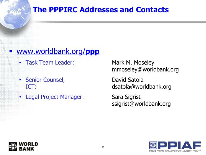 The PPPIRC Addresses and Contacts