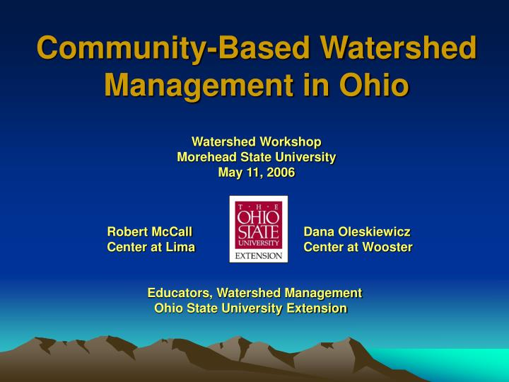 community based watershed management in ohio n.