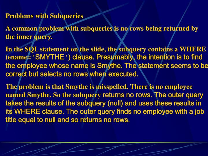 Problems with Subqueries