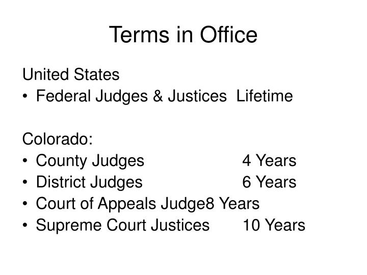 Terms in Office