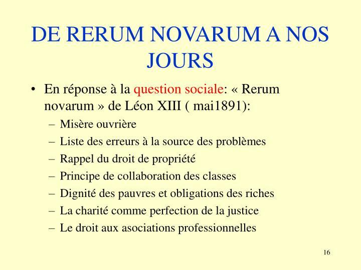 DE RERUM NOVARUM A NOS JOURS