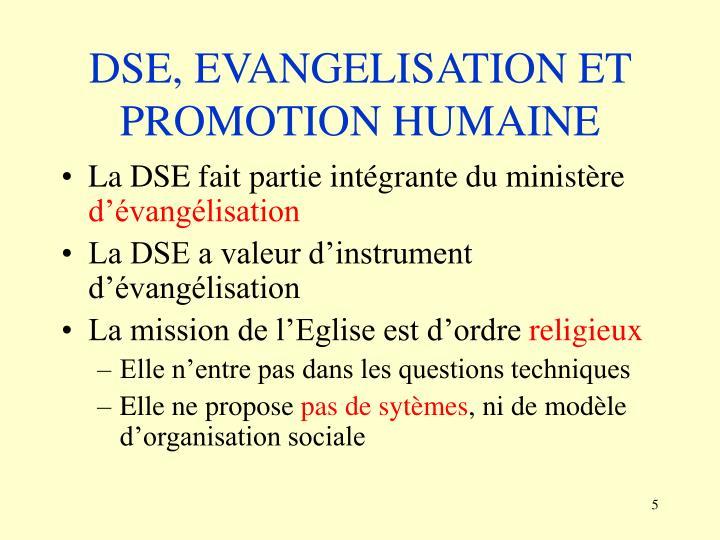 DSE, EVANGELISATION ET PROMOTION HUMAINE